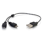 C2G 81709 0.25m USB A 2 x Micro-USB B Black mobile phone cable