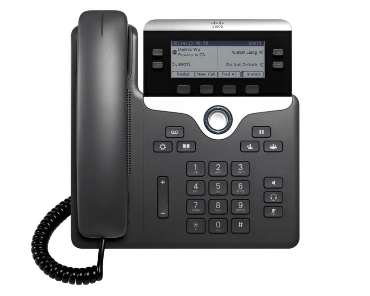 Cisco 7821 IP phone Black, Silver 2 lines