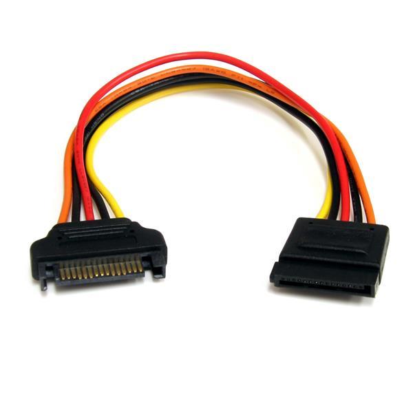 StarTech.com Cable de 20cm de Extensión de Alimentación Corriente SATA - 15 pines