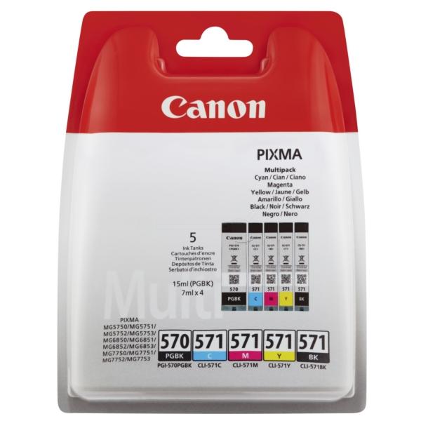 Canon 0372C004 (PGI-570 CLI 571) Ink cartridge multi pack, 15ml + 4x7ml, Pack qty 5
