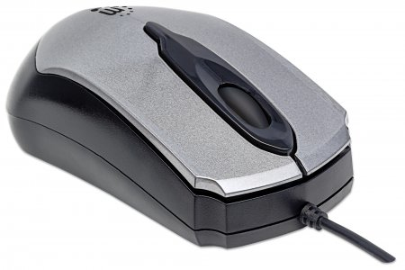 Manhattan Edge Wired Mouse, Grey, 1000dpi, USB, Optical, Compact, Three Button with Scroll Wheel, Low friiction base, Blister