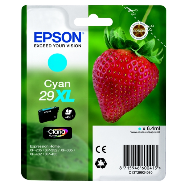 Epson C13T29924010 (29XL) Ink cartridge cyan, 450 pages, 6ml
