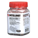 Intellinet 100-Pack Cat5e RJ45 Modular Plugs Jar, UTP, 3-prong, for Solid Wire (502399)