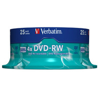 DVD-rw Media 4.7GB 4x 25-pk Spindle Scratch Resistant