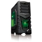 CIT Vanquish Gaming Case USB3 Toolless Side Window 2 x 12cm Green LED Fans