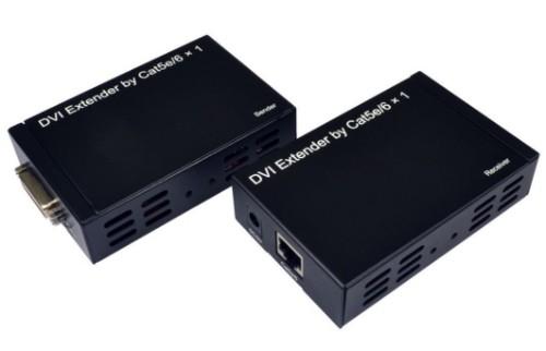 Cables Direct DVI Extender over Ethernet AV transmitter & receiver Black