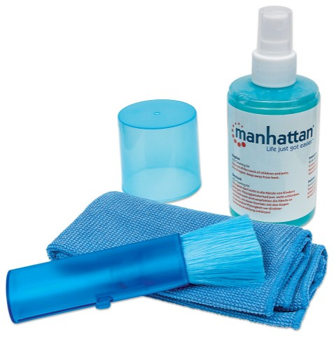 Manhattan LCD Cleaning Kit, Alcohol-free, Includes Cleaning Solution (200ml), Brush and Microfibre Cloth, Ideal for use on monitors/laptops/keyboards/etc, Blister