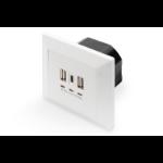 Digitus DA-70618 socket-outlet 2 x USB A + 1 x USB C White