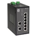 LevelOne 8-Port Industrial Fast Ethernet PoE Switch, 802.3af PoE, 4 PoE Outputs, DIN-Rail, -40°C to 75°C