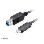 Akasa USB A/B, 100cm USB cable 1 m 3.2 Gen 2 (3.1 Gen 2) USB C USB B Black
