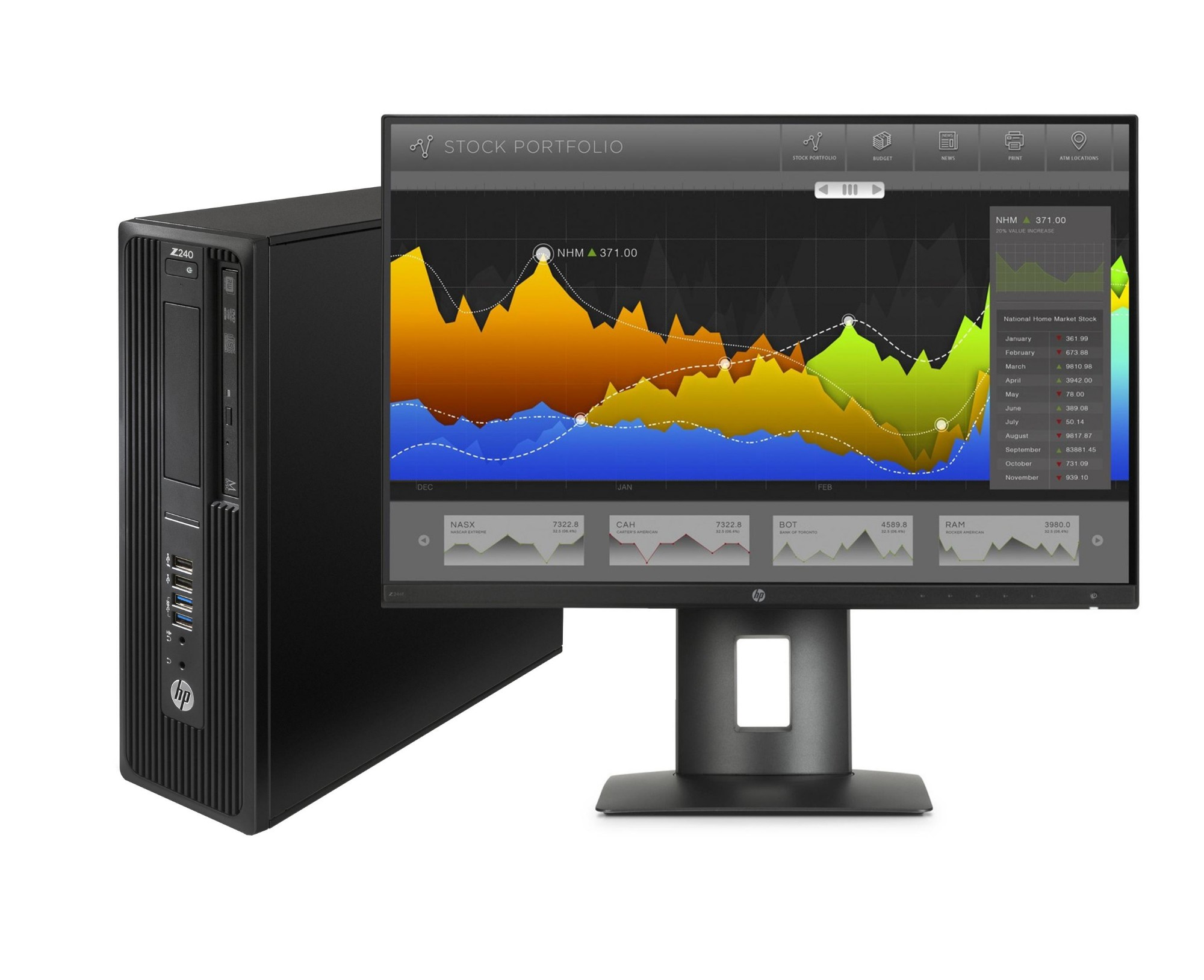 HP 240 SFF + Z24nf 3.4GHz i7-6700 SFF Black Workstation