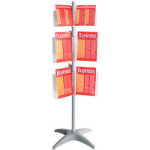 ESSELTE BROCHURE HOLDER CAROUSEL FLOOR STAND 3 TIER DL X 12 A4 X 12