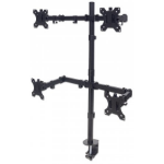 """Manhattan TV & Monitor Mount, Desk, Double-Link Arms, 4 screens, Screen Sizes: 10-27"""", Black, Stand or Clamp Assembly, Quad Screens, VESA 75x75 to 100x100mm, Max 8kg (each), Lifetime Warranty"""
