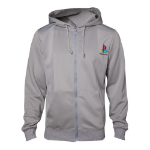 Sony Playstation Men's PS One Full Length Zipper Hoodie, Large, Grey (HD250259SNY-L)