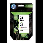 HP 21/22 Original Zwart, Cyaan, magenta, Geel Multipack 2 stuk(s)
