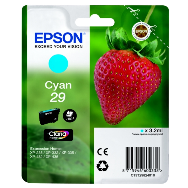 Epson C13T29824012 (29) Ink cartridge cyan, 180 pages, 3ml