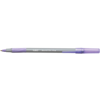 BIC Round Stic Grip Pen 1.0mm Tip 0.4mm Line Purple Ref 920412 [Pack 40]