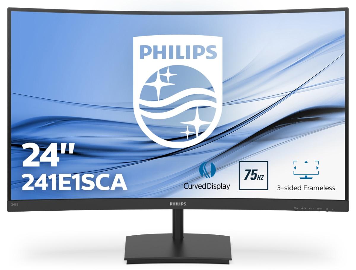 """Philips E Line 241E1SCA/00 computer monitor 59,9 cm (23.6"""") 1920 x 1080 Pixels Full HD LCD Gebogen Mat Zwart"""