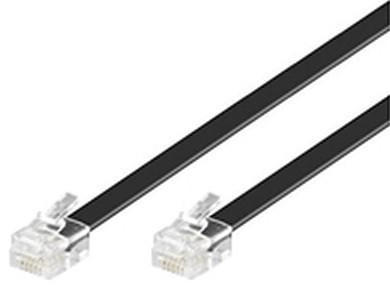 Microconnect RJ12 6C6P 10m 10m Transparent,Black telephony cable