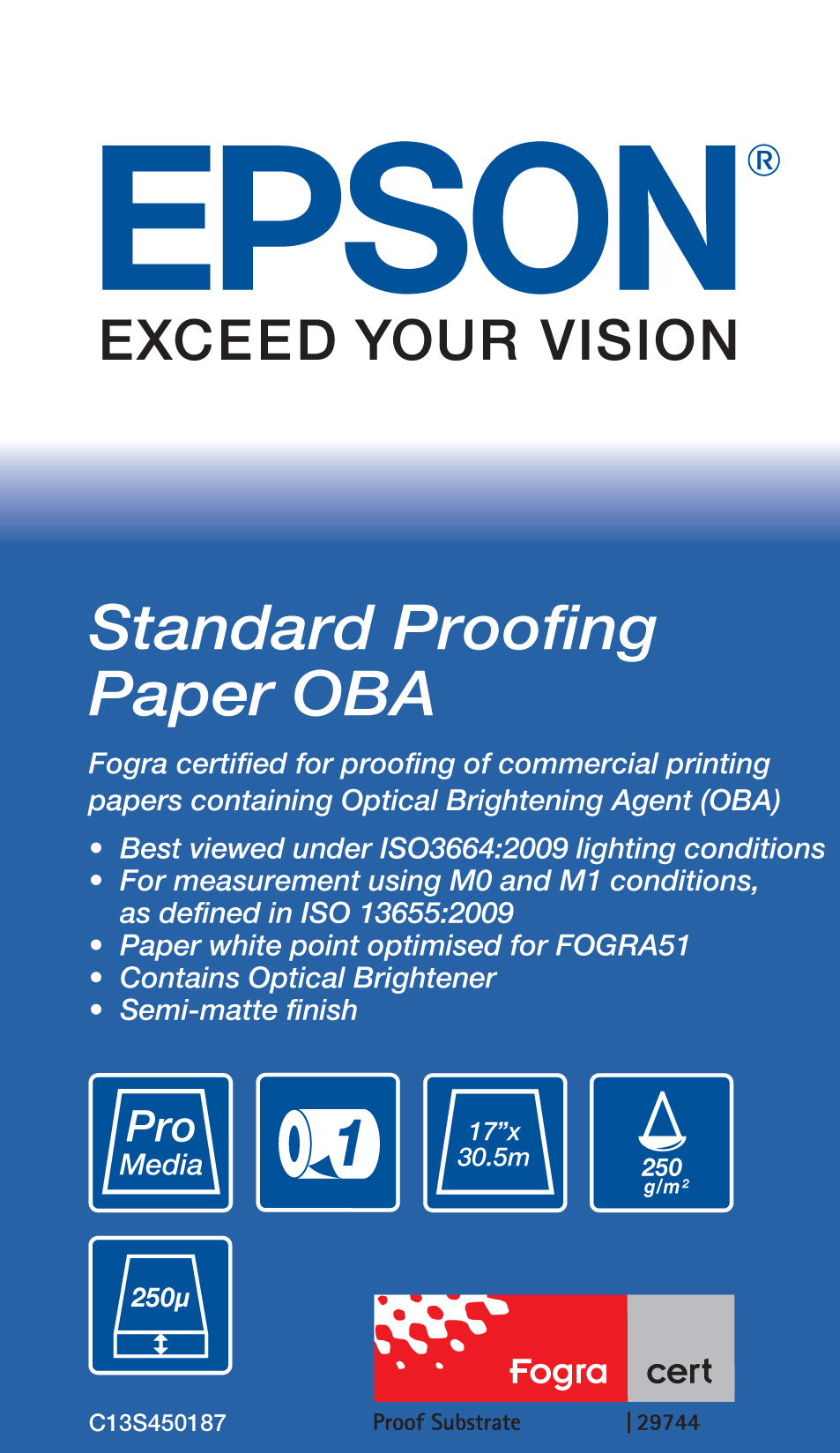 """Epson Standard Proofing Paper OBA 17"""" x 30.5 m"""