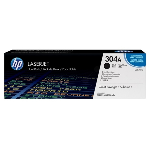HP CC530AD (304A) Toner black, 3.5K pages @ 5% coverage, Pack qty 2