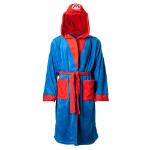 Nintendo Super Mario Bros. Men's Mario Bath Robe with Hood, Large/Extra Large/Extra Extra Large, Blue /Red(RB