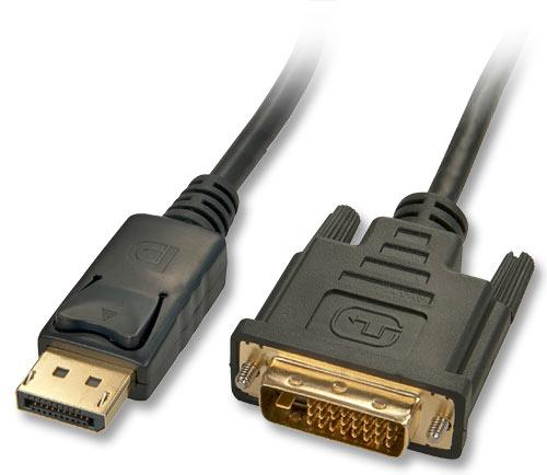 Lindy 41490 video cable adapter 1 m DVI-D DisplayPort Black