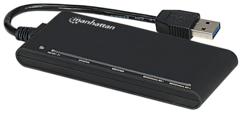 Manhattan USB-A Multi-Card Reader/Writer, 5 Gbps (USB 3.2 Gen1 aka USB 3.0), 62-in-1, Windows or Mac, Black, Blister