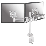 """Newstar Full Motion Dual Desk Mount (clamp) for two 10-30"""" Monitor Screens, Height Adjustable - Silver"""