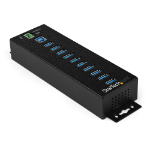 StarTech.com 10 Port USB Hub with Power Adapter - Surge Protection - Metal Industrial USB 3.0 Data Transfer Hub - Din Rail, Wall or Desk Mountable - High Speed USB 3.1 Gen 1 5Gbps Hub