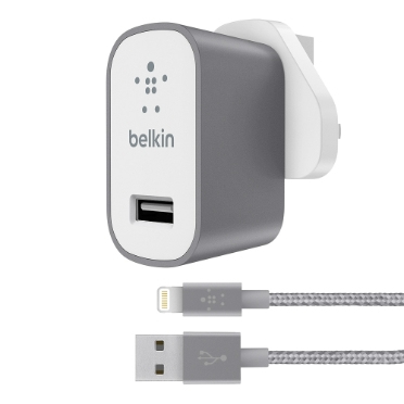 Belkin F8J189DR04-GRY Auto,Indoor Grey,White mobile device charger