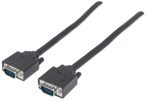Manhattan SVGA Monitor Cable, HD15, 4.5m, Male to Male, Shielded, Black, Polybag