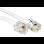 Cables Direct 3m RJ-11/RJ-11 White