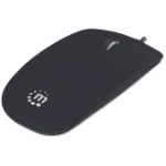 Manhattan Silhouette Sculpted Wired Mouse, Black, 1000dpi, USB, Optical, Lightweight, Flat, Three Button with Scroll Wheel, Blister
