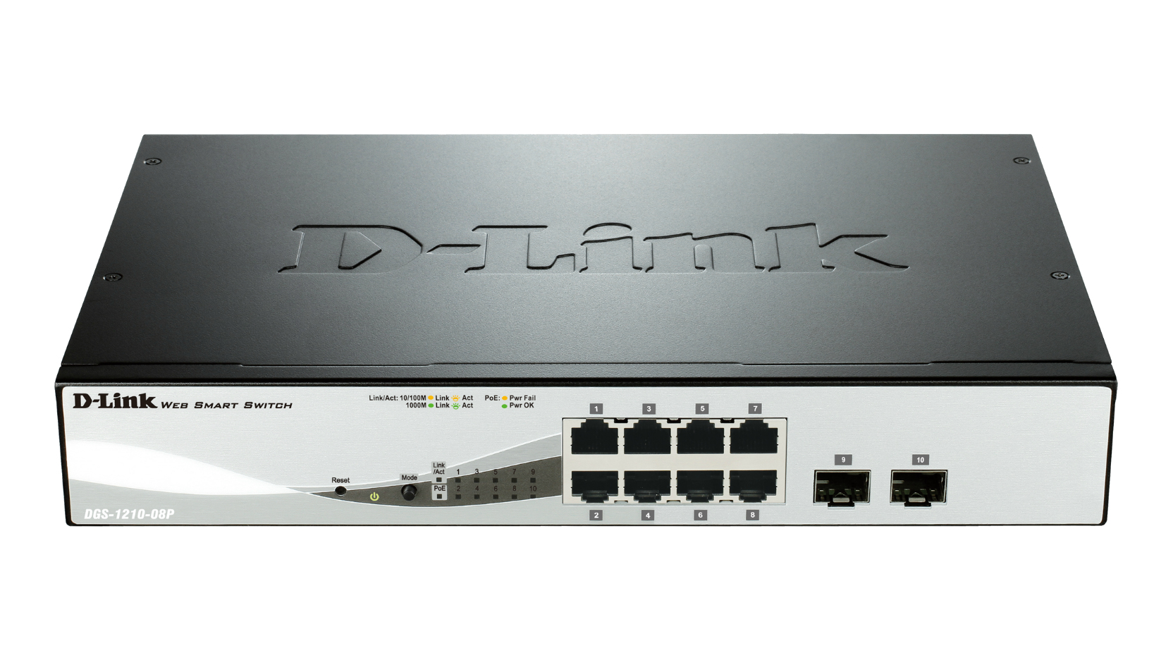 D-Link DGS-1210-08P L2 Gigabit Ethernet (10/100/1000) Power over Ethernet (PoE) Black network switch