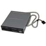 "StarTech.com Interne USB 2.0 multimedia kaartlezer 3,5"" 22-in-1 Front Panel card reader 22-in-1 zwart"