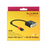 DeLOCK 61213 video cable adapter 0.2 m USB C DVI Black