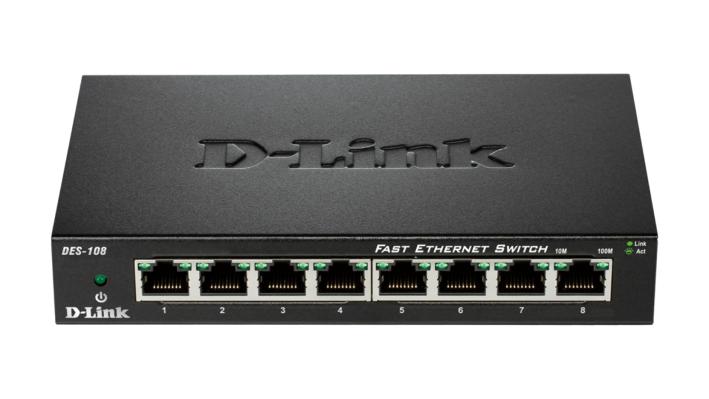 D-Link DES-108 Conmutador de red no administrado Fast Ethernet (10/100) Negro switch