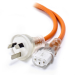 ALOGIC 2m Medical Power Cable Aus 3 Pin Mains Plug (Male) to IEC C13 (Female) Orange
