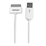 StarTech.com 0.3m (11in) Short Apple 30-pin Dock Connector to USB Cable for iPhone / iPod / iPad with Stepped Connector