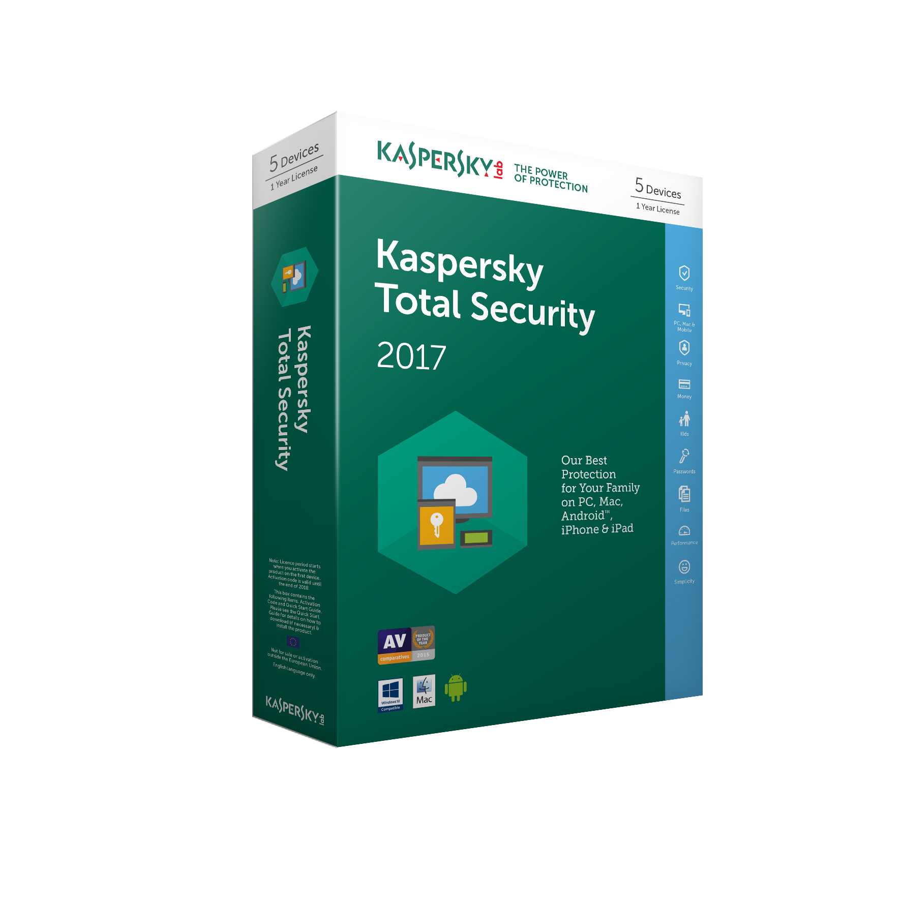 Kaspersky Lab Total Security 2017 Base license 5user(s) 1year(s)