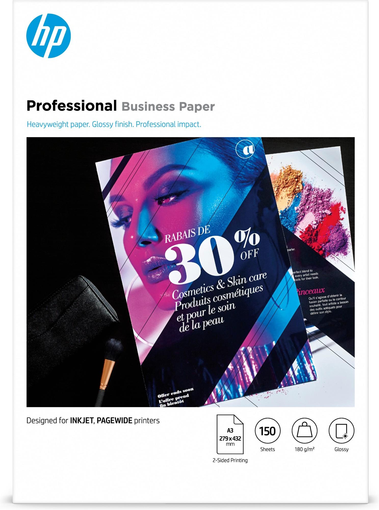 HP 7MV84A printing paper A3 297x420 mm Gloss 150 sheets White