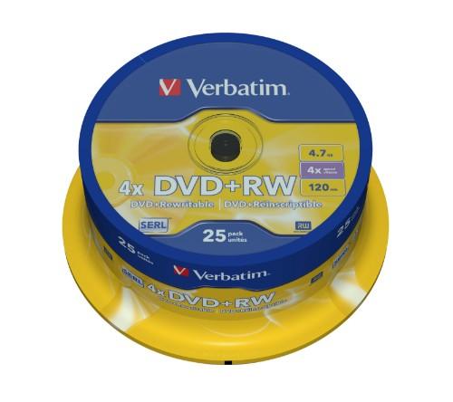 Verbatim DVD+RW Matt Silver 4.7 GB 25 pc(s)