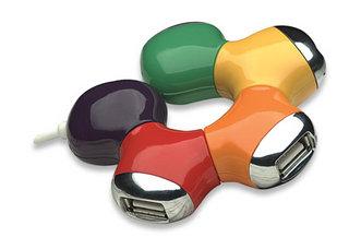 Manhattan USB 2.0 Flex Hub, 4x USB 2.0 ports, Flower design (5 colours), Ports Rotate 180°, Bus Power, Blister