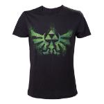 Nintendo Legend of Zelda Men's Distress Green Royal Crest T-Shirt, Small, Black (TS240920NTN-S)