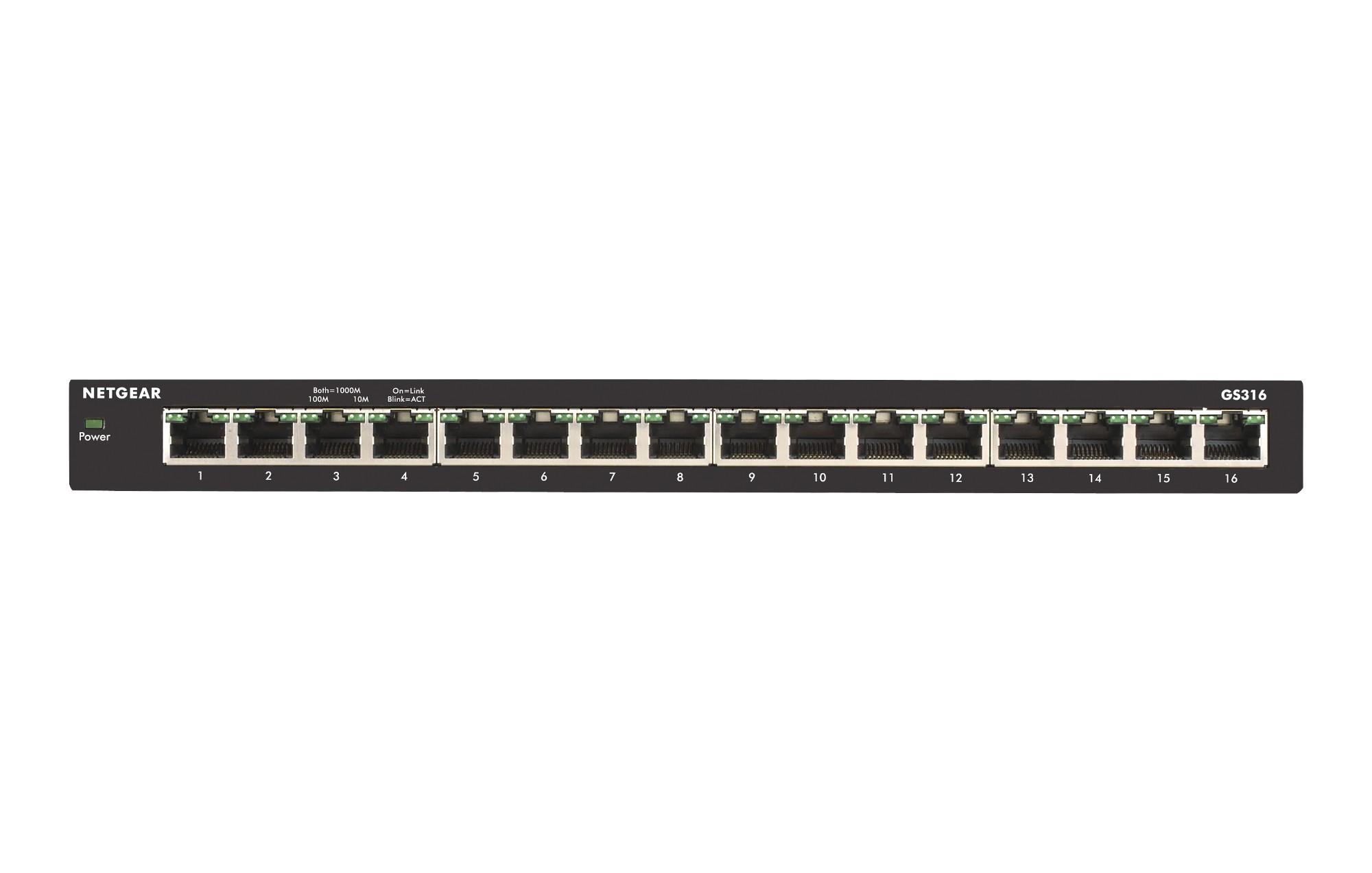 Netgear GS316 No administrado Gigabit Ethernet (10/100/1000) Negro