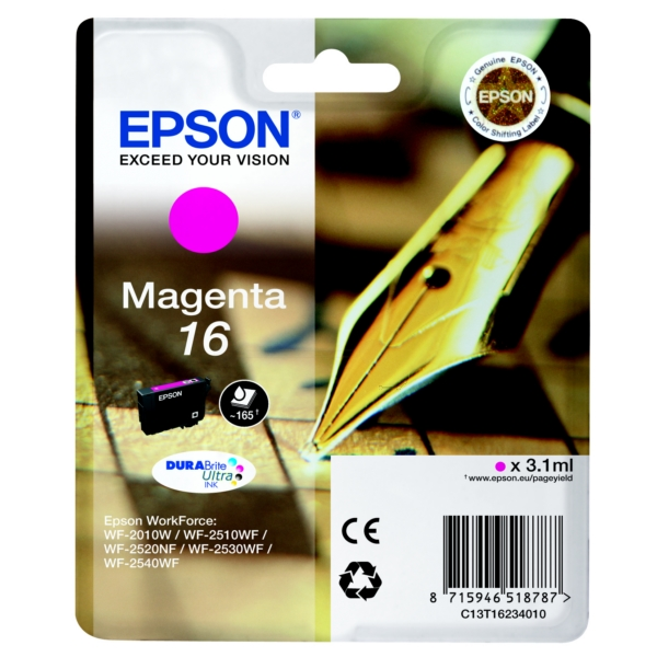 Epson C13T16234010 (16) Ink cartridge magenta, 165 pages, 3ml