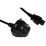 UK Power Lead, Cloverleaf, Moulded Plug, 1.8 Metres
