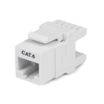 StarTech.com 180° Cat 6 Keystone Jack - RJ45 Ethernet Cat6 Wall Jack White - 110 Type C6KEY110SWH