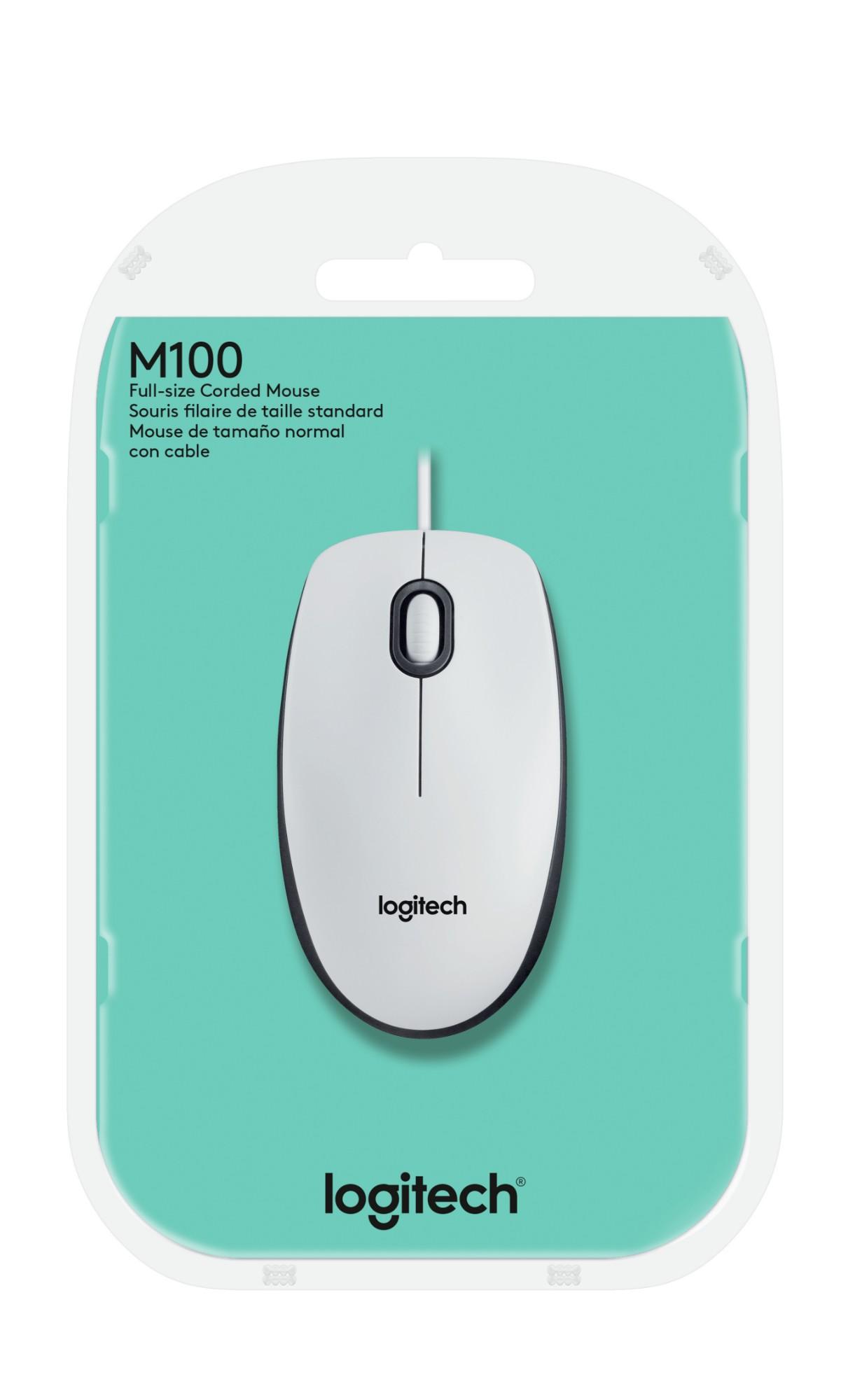 ebc9c711400 Logitech M100 mice USB Optical 1000 DPI White   Eurieka.ie